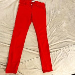 Express size 4 low rise skinny jeans hot pink